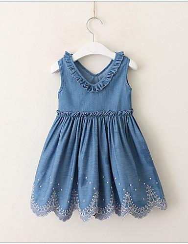 幼児 女の子 甘い / かわいいスタイル ソリッド ノースリーブ ドレス ブルー