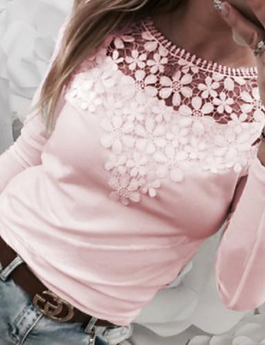 Χαμηλού Κόστους Γυναικείες Μπλούζες-γυναικείο ασιατικό μέγεθος λεπτό  μπλουζάκι - λουλούδι στρογγυλό λαιμό 40433e3ae41