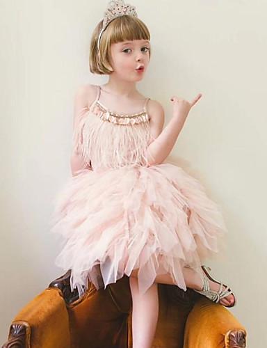 子供 女の子 ベーシック ソリッド ノースリーブ ドレス グレー