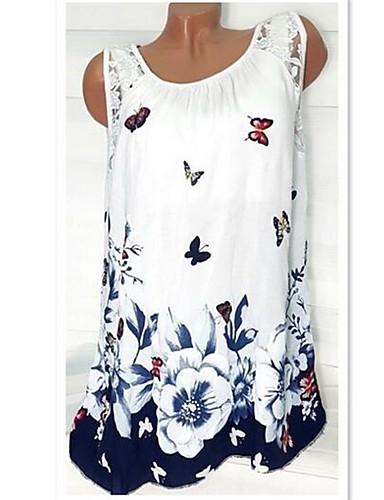 povoljno Ženske majice-Veći konfekcijski brojevi Majica s rukavima Žene Dnevno Cvjetni print Slim, Čipka Rukav leptir Crvena