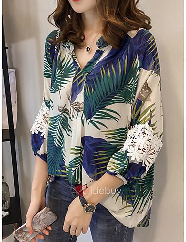billige Dametopper-Løstsittende V-hals Store størrelser Skjorte Dame - Geometrisk, Lapper / Trykt mønster Forretning / Gatemote Arbeid BLå & Hvit Blå / Høst