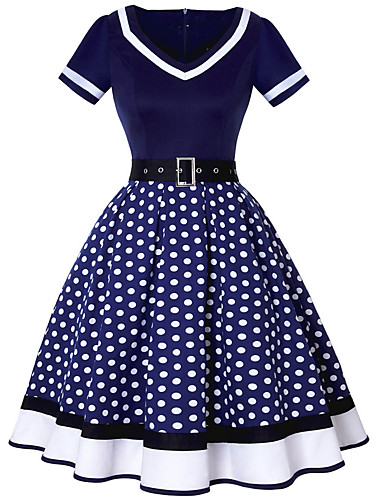 205ac204f9722 Women s Polka Dot Plus Size Daily Going out Vintage A Line Dress - Polka Dot  High Waist V Neck Fall Pink Navy Blue Wine XL XXL XXXXL   Sexy