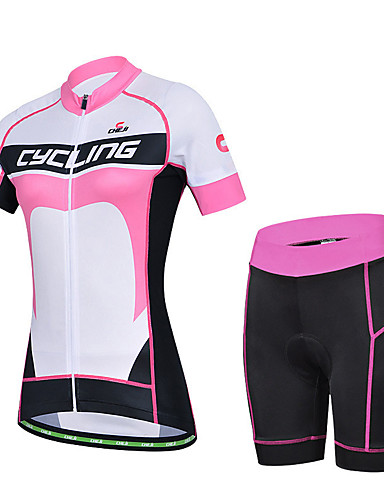 cheap Cycling Clothing-cheji® Women's Short Sleeve Cycling Jersey with Shorts - Black / White Bike Clothing Suit Breathable Quick Dry Sports Lycra Patchwork Mountain Bike MTB Road Bike Cycling Clothing Apparel / Racing