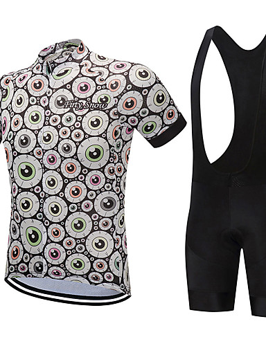 cheap Cycling Clothing-FirtySnow Men's Short Sleeve Cycling Jersey with Bib Shorts - White Black Cartoon Bike Clothing Suit Breathable Moisture Wicking Quick Dry Sports Polyester Circle Mountain Bike MTB Road Bike Cycling