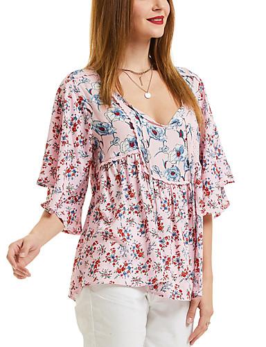 da285691c2 Mulheres Camiseta Básico Manga Tulipa Cordões