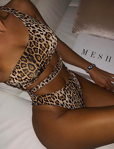 Women's Basic Strapless Brown Wrap High Waist One-piece Swimwear - Leopard Criss Cross S M L Brown / Sexy