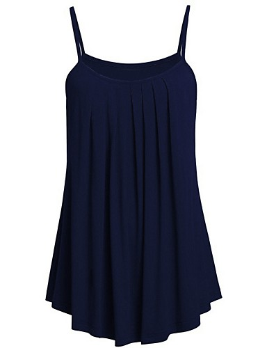 abordables Hauts pour Femme-Débardeur Grandes Tailles Femme, Couleur Pleine Plage Bleu Marine