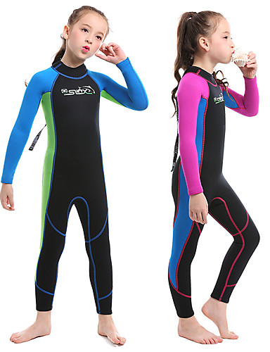 SLINX Girls  Full Wetsuit 2mm SCR Neoprene Diving Suit Top Bottoms Quick  Dry High Elasticity Long Sleeve Back Zip Solid Colored Patchwork Autumn    Fall ... eb23795bf