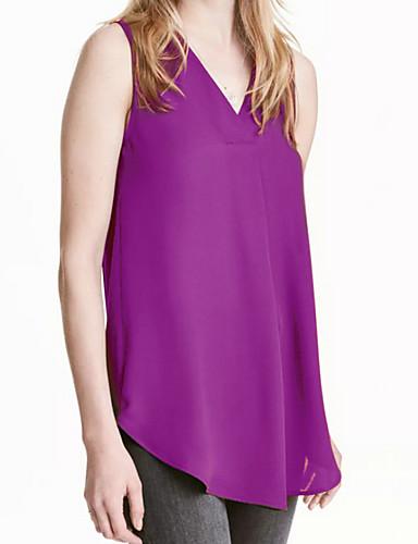 abordables Hauts pour Femmes-Débardeur Grandes Tailles Femme, Couleur Pleine Basique Col en V Bleu clair