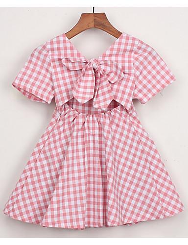 Νήπιο Κοριτσίστικα Ενεργό Καθημερινά Houndstooth Κοντομάνικο Πάνω από το Γόνατο Πολυεστέρας Φόρεμα Θαλασσί