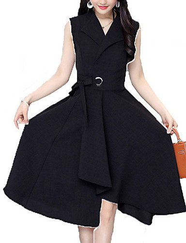 Χαμηλού Κόστους Γυναικεία Φορέματα-Γυναικεία Βαμβάκι Γραμμή Α Φόρεμα Ως το  Γόνατο Λαιμόκοψη V 5079930b768