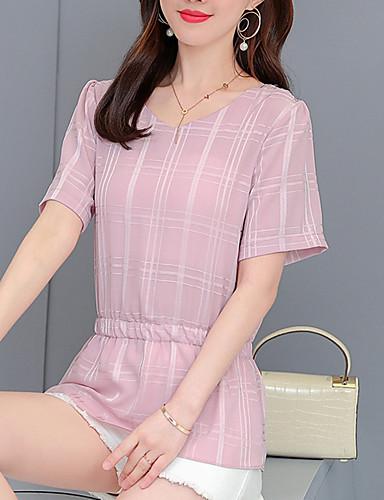billige Topper til damer-T-skjorte Dame - Fargeblokk, Flettet Grunnleggende / Gatemote Rosa
