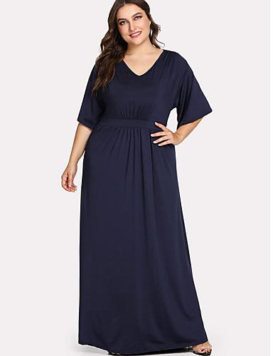 voordelige Grote maten jurken-Dames Grote maten Katoen Recht Jurk V-hals Maxi