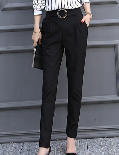 cheap Women's Pants-Women's Basic Daily Chinos Pants - Solid Colored Cotton Black L XL XXL
