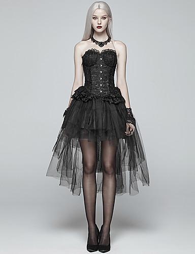 f963c5cef0 Plague Doctor Gothic Lolita 1950s Steampunk Costume Women's Skirt Tutu  Under Skirt Crinoline Black Vintage Cosplay Lace Party Halloween Knee Length