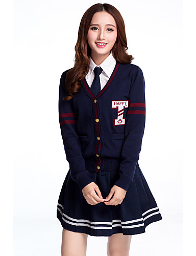 cheap Career & Profession Costumes-Student / School Uniform Schoolgirls JK Uniform Cosplay Costume Outfits Women's Girls' Adults' Highschool For Halloween Performance Cotton Patchwork Coat Blouse Skirt Christmas Halloween Carnival