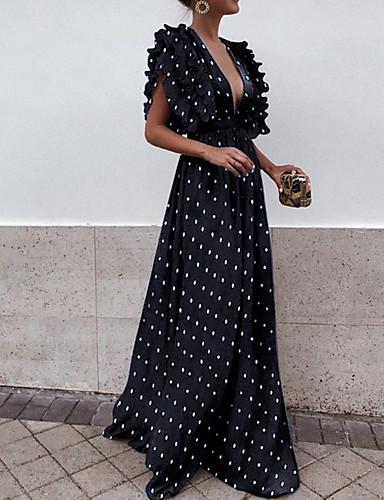 voordelige Maxi-jurken-Dames Slank Trompet / zeemeermin Jurk - Polka dot, Patchwork  Diepe V-hals Maxi