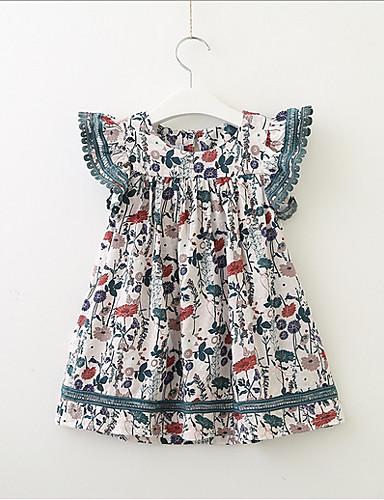 幼児 女の子 甘い / かわいいスタイル 幾何学模様 半袖 ドレス ホワイト