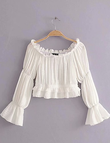 abordables Camisas y Camisetas para Mujer-Mujer Boho Noche / Playa Algodón Camisa, Hombros Caídos Un Color Manga Farol Blanco S