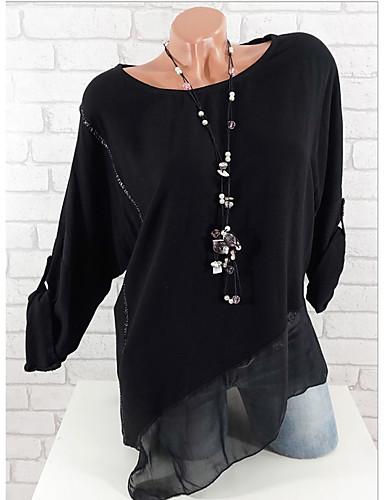 Χαμηλού Κόστους Γυναικείες Μπλούζες-γυναικεία ασιατική t-shirt - συμπαγές  στρογγυλό λαιμό 1489564b367