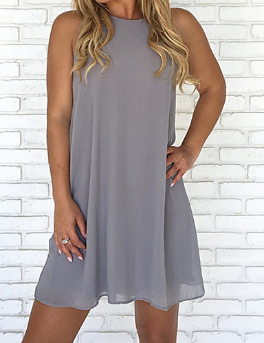 저렴한 미니 드레스-여성용 플러스 사이즈 비치 베이직 시프트 드레스 - 솔리드 하이 웨스트 무릎 위
