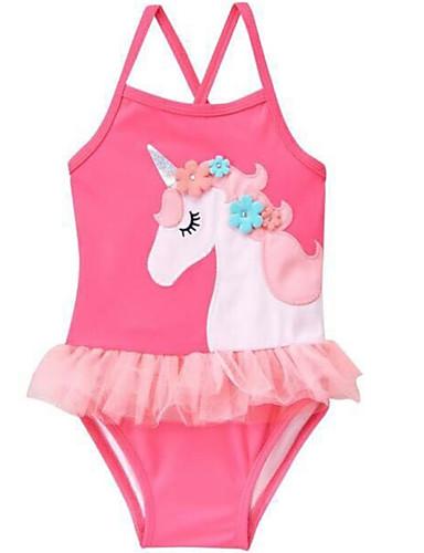幼児 女の子 ビーチ ソリッド / 幾何学模様 ノースリーブ ポリエステル 水着 ピンク