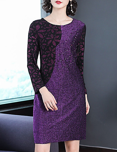 545780e31673 Women s Plus Size Going out Street chic Sophisticated Loose Sheath Dress -  Color Block Sequins Print Spring Purple XXXL XXXXL XXXXXL  07141130