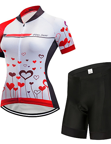 cheap Cycling Clothing-FirtySnow Women's Short Sleeve Cycling Jersey with Shorts Red and White Bike Clothing Suit Breathable Moisture Wicking Quick Dry Sports Polyester Graphic Mountain Bike MTB Road Bike Cycling Clothing