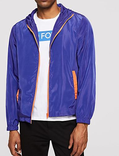 Erkek Günlük / Dışarı Çıkma Sokak Şıklığı İlkbahar & Kış Normal Ceketler, Zıt Renkli Kapşonlu Uzun Kollu Polyester Kırk Yama Navy Mavi L / XL / XXL
