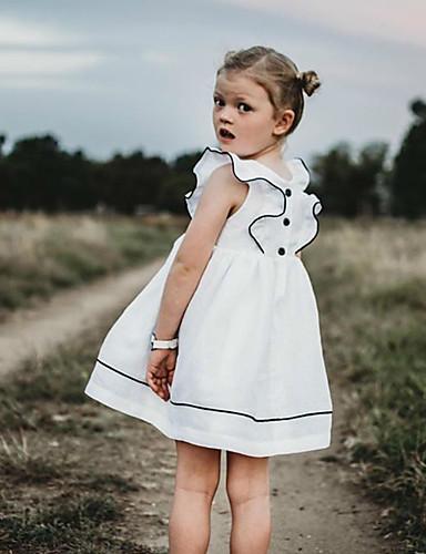 שמלה שרוולים קצרים אחיד בנות ילדים / פעוטות