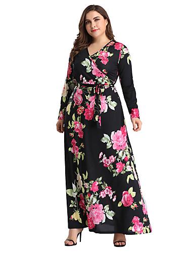 voordelige Grote maten jurken-Dames Boho Skinny Wijd uitlopend Jurk Print V-hals Maxi Hoge taille / Hoge taille
