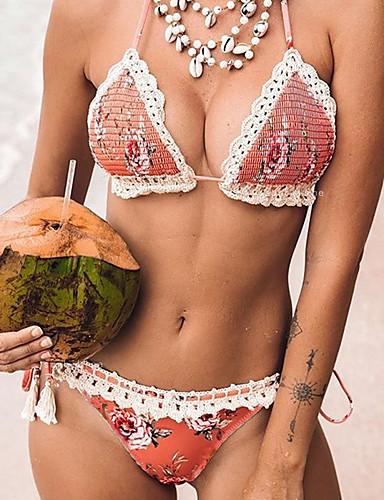 abordables Vacances de Plage-Femme Rose Claire Slip Brésilien Tankinis Maillots de Bain - Fleur S M L