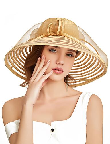 abordables Accessoires Femme-Femme Paille Actif Vacances Chapeau de Paille Rayé Mosaïque Blanc Noir Beige Toutes les Saisons