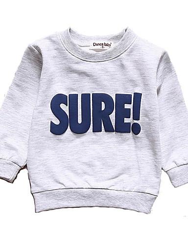 Dziecko Dla chłopców Aktywny / Podstawowy Codzienny / Sport Solidne kolory Długi rękaw Regularny Bawełna Bluzy Jasnoszary