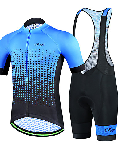 cheap Cycling Clothing-cheji® Men's Short Sleeve Cycling Jersey with Bib Shorts Navy Blue Green Blue Bike Clothing Suit Breathable Quick Dry Sports Lycra Patchwork Mountain Bike MTB Road Bike Cycling Clothing Apparel