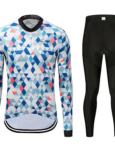 cheap Cycling Clothing-FirtySnow Men's Long Sleeve Cycling Jersey with Tights - Sky Blue+White Bike Clothing Suit Thermal / Warm Windproof Fleece Lining Winter Sports Polyester Checkered / Gingham Mountain Bike MTB Road
