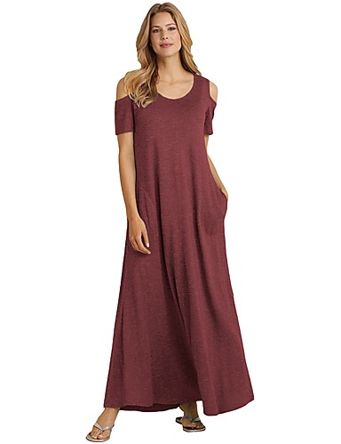 voordelige Maxi-jurken-Dames Elegant Skinny Recht Jurk - Effen Maxi Hoge taille / Hoge taille  / Sexy