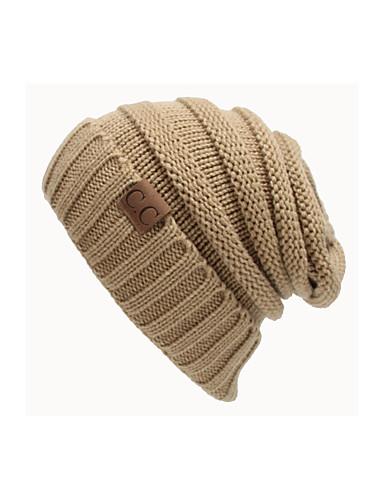 abordables Accessoires Femme-Unisexe Tricot Travail Actif Bonnet / Crochet Couleur Pleine Noir Bleu marine Vin Automne Hiver