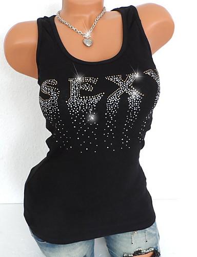 abordables Hauts pour Femme-Débardeur Grandes Tailles Femme, Géométrique Paillettes / Perlé Basique Noir