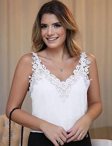 billige Dametopper-Dyp V Store størrelser T-skjorte Dame - Ensfarget Grunnleggende Rosa