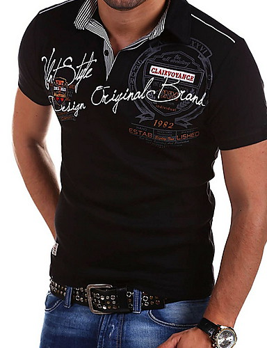 d13acf502c76 Ανδρικά Μέγεθος EU   US T-shirt Μονόχρωμο Κολάρο Πουκαμίσου Λεπτό Στάμπα  Λευκό L