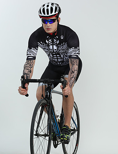 cheap Cycling Clothing-BOESTALK Men's Short Sleeve Cycling Jersey with Bib Shorts - Black Skull Bone Bike Breathable Quick Dry Reflective Strips Back Pocket Sports Spandex Skull Mountain Bike MTB Road Bike Cycling Clothing