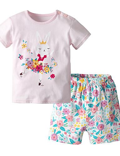 Vauva Tyttöjen Vapaa-aika / Perus Painettu Hihaton Normaali Normaali Puuvilla Vaatesetti Punastuvan vaaleanpunainen / Taapero