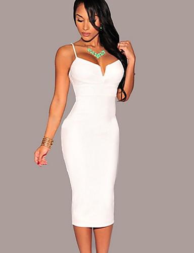 ac38c51f59 Mujer Básico Corte Bodycon Vestido Un Color Midi 7199093 2019 –  15.99