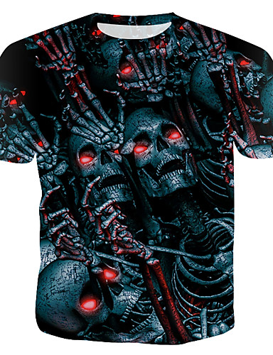 cheap Men's Tees & Tank Tops-Men's Cotton T-shirt - Skull Print Round Neck Rainbow