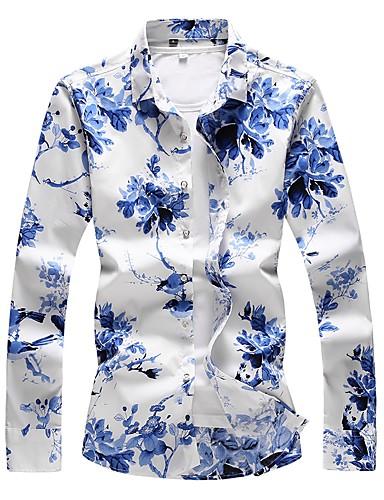 voordelige Herenoverhemden-Heren Grote maten - Overhemd Katoen Bloemen blauw