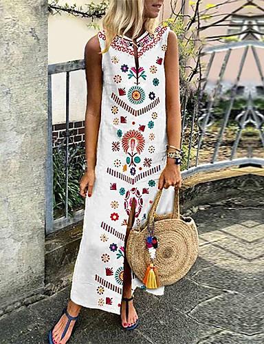 رخيصةأون فساتين طويلة-فستان نسائي قياس كبير جذاب بوهو طويل للأرض هندسي منخفضة V رقبة