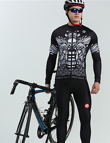 cheap Cycling Clothing-BOESTALK Men's Long Sleeve Cycling Jersey with Bib Tights - Black Skull Floral Botanical Bike Thermal / Warm Breathable Winter Sports Fleece Skull Mountain Bike MTB Road Bike Cycling Clothing Apparel