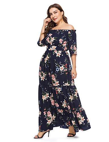voordelige Grote maten jurken-Dames Boho Elegant Chiffon Jurk - Bloemen, Kant Print Maxi