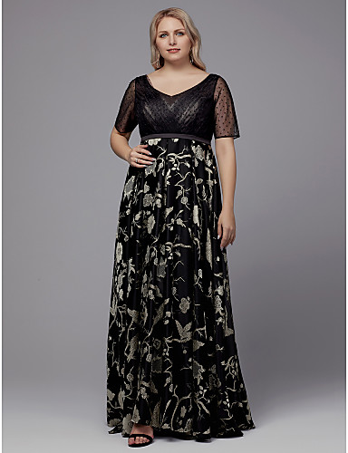dd9bcfe91a2 Plus Size A-Line V Neck Floor Length Tulle Formal Evening Dress with  Pattern   Print   Sash   Ribbon by TS Couture® 7104176 2019 –  107.99